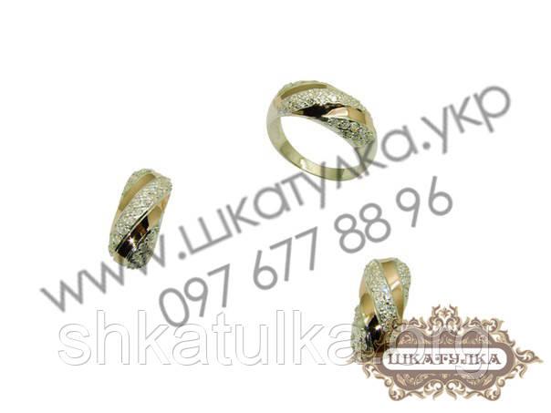 Серебряный гарнитур с золотом и фианитом №74о