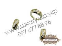 Серебряный гарнитур с золотом и фианитом №74о , фото 1