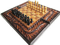Шахматы-нарды резные,резьба по дереву, фото 1