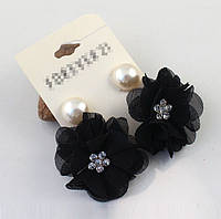 Серьги Цветы из ткани черные, жемчуг