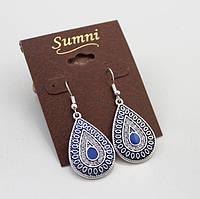 Серьги Капельки с камнями синие, фото 1