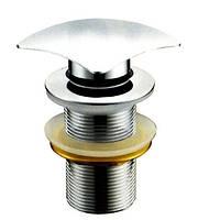 Дизайнерский латунный донный клапан для умывальника с переливом