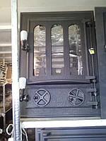 Печные дверцы со стеклом Велес №11, чугунные дверки для барбекю, сауны и печи