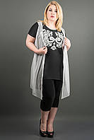 Женская туника большого размера ПАУЛА (черный), фото 1