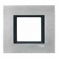 Рамка Schneider Electric Unica серебристый алюминий одноместная