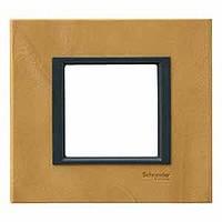 Рамка Schneider Electric Unica кожа анатолийский пергамент одноместная
