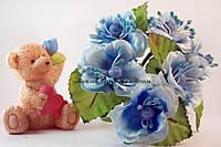 Цветы яблони 4см голубого цвета 3шт/уп