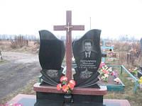 Двойной памятник вертикальный  с красным крестом
