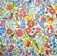 """Салфетка для декупажа """"Цветы и птицы в миниатюре"""", размер 24*24 см, трехслойная"""
