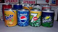 Колонка портативная  в виде банки «Cola, Sprite, Pepsi, Fanta, 7up,FM радио и MP3. Только оптом!