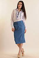 Костюм-двойка белая рубашка на шнуровке с зауженной джинсовой юбкой