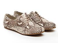 Туфли бежевая рептилия больших размеров