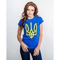 Женская патриотическая футболка «Тризуб» (синяя)