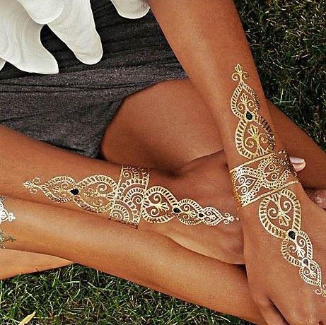 Flash tattoo золотые, черные, белые