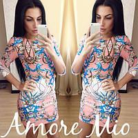 Платье яркое модное мини с узором SML171