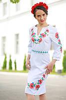 Женское платье с вышивкой «Цветущее поле» (белое), фото 1
