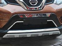 Накладки с хромом №2 на бампер передние+задние Nissan X-Trail 2014+