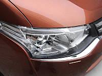 Хром накладки на передний бампер Mitsubishi Outlander 2014+ (BKT-MO-C31)