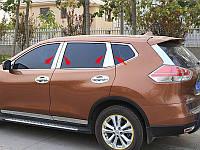 Хромированные накладки на стойки дверей Nissan X-Trail 2014+