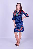 Женское платье с вышивкой «Цветущее поле» (синее), фото 1