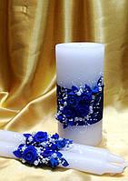 """Свадебный набор свечей  """"Синие розы""""."""