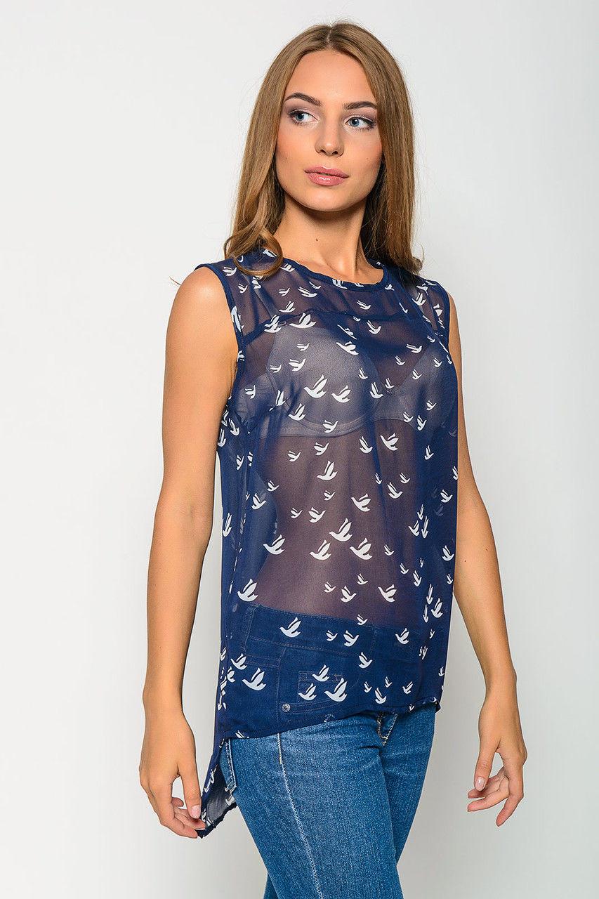 Шифоновая синяя блузка в омске