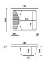 Прямоугольная кухонная мойка Granitika Cube Bevel CB585020 лён 58х50х20, фото 3