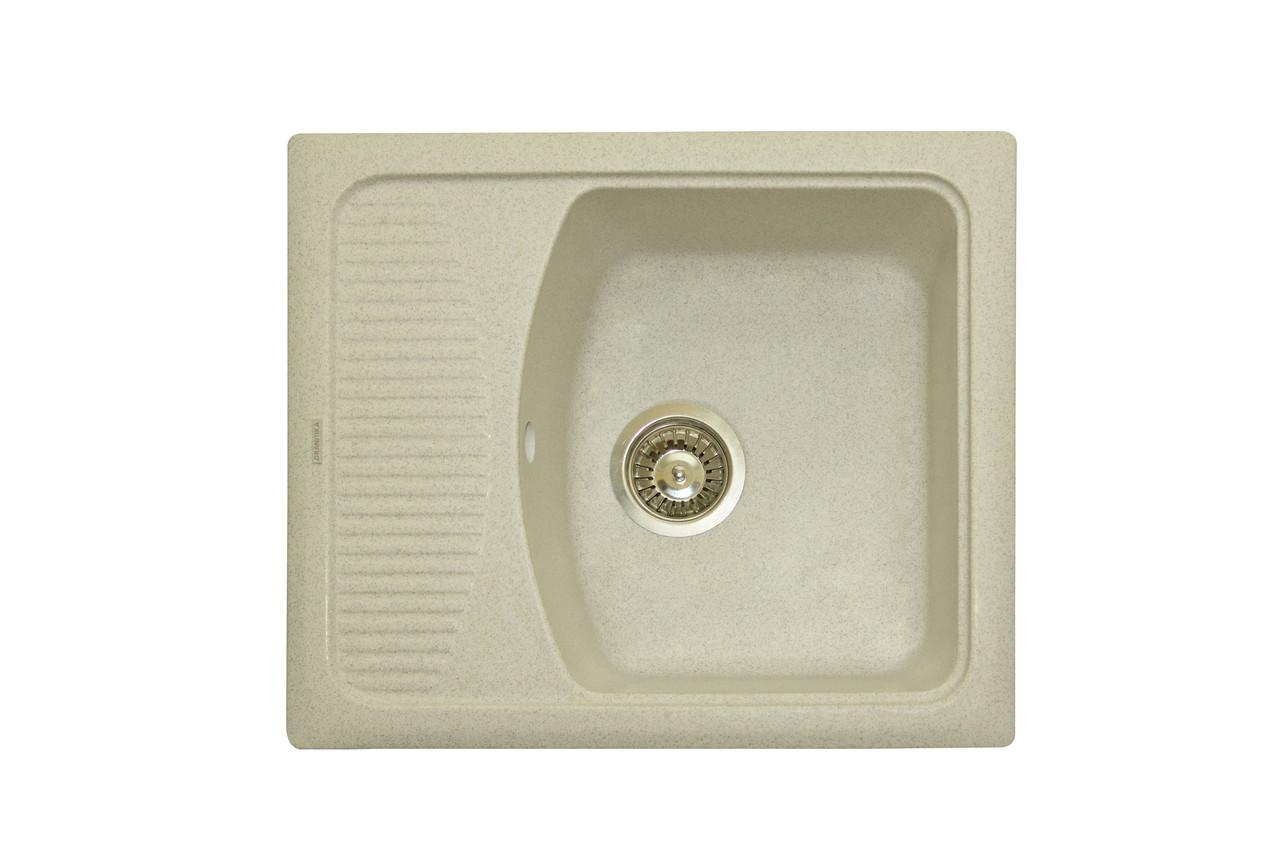 Прямоугольная кухонная мойка Granitika Cube Bevel CB585020 лён 58х50х20