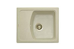 Прямоугольная кухонная мойка Granitika Cube Bevel CB585020 лён 58х50х20, фото 2