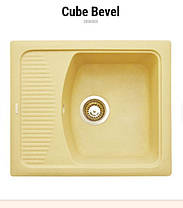 Прямоугольная кухонная мойка Granitika Cube Bevel CB585020 беж 58х50х20, фото 2