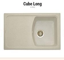 Прямоугольная кухонная мойка Granitika Cube Long CL785020 лён 78х50х20, фото 2