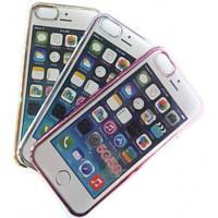 Чехол FASHION CASE для IPHONE 6 силиконовый прозрачный с бампером в виде металлик
