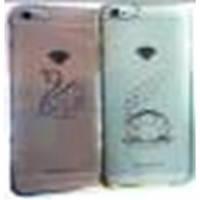 Чехол FASHION CASE для IPHONE 6PLUS силиконовый прозрачный со стразами +бампер в виде металлик с камушками