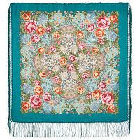 Воздушное настроение 1661-12, павлопосадский платок шерстяной  с шелковой бахромой
