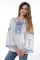 """Блуза жіноча """"Пані Полуботок"""", синьо-сіра, 100% льон , фото 1"""