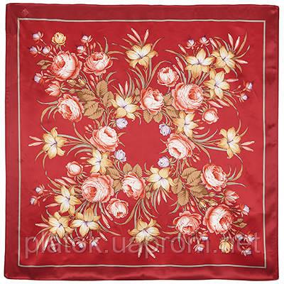 Жаворонок 770-6, павлопосадский платок (атлас) шелковый с подрубкой