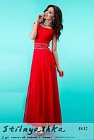 Вечернее длинное платье Аркадия красное
