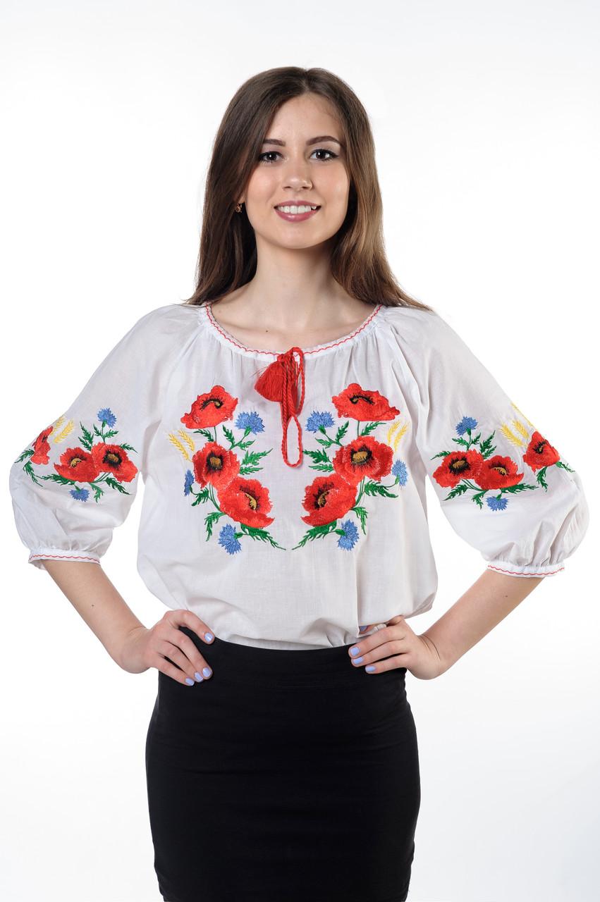 """Блуза вышитая (Вышиванка)  """"МАКИ"""" (БАТИСТ)  (рукав 3/4)"""