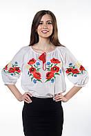 "Блуза вышитая (Вышиванка)  ""МАКИ"" (БАТИСТ)  (рукав 3/4), фото 1"