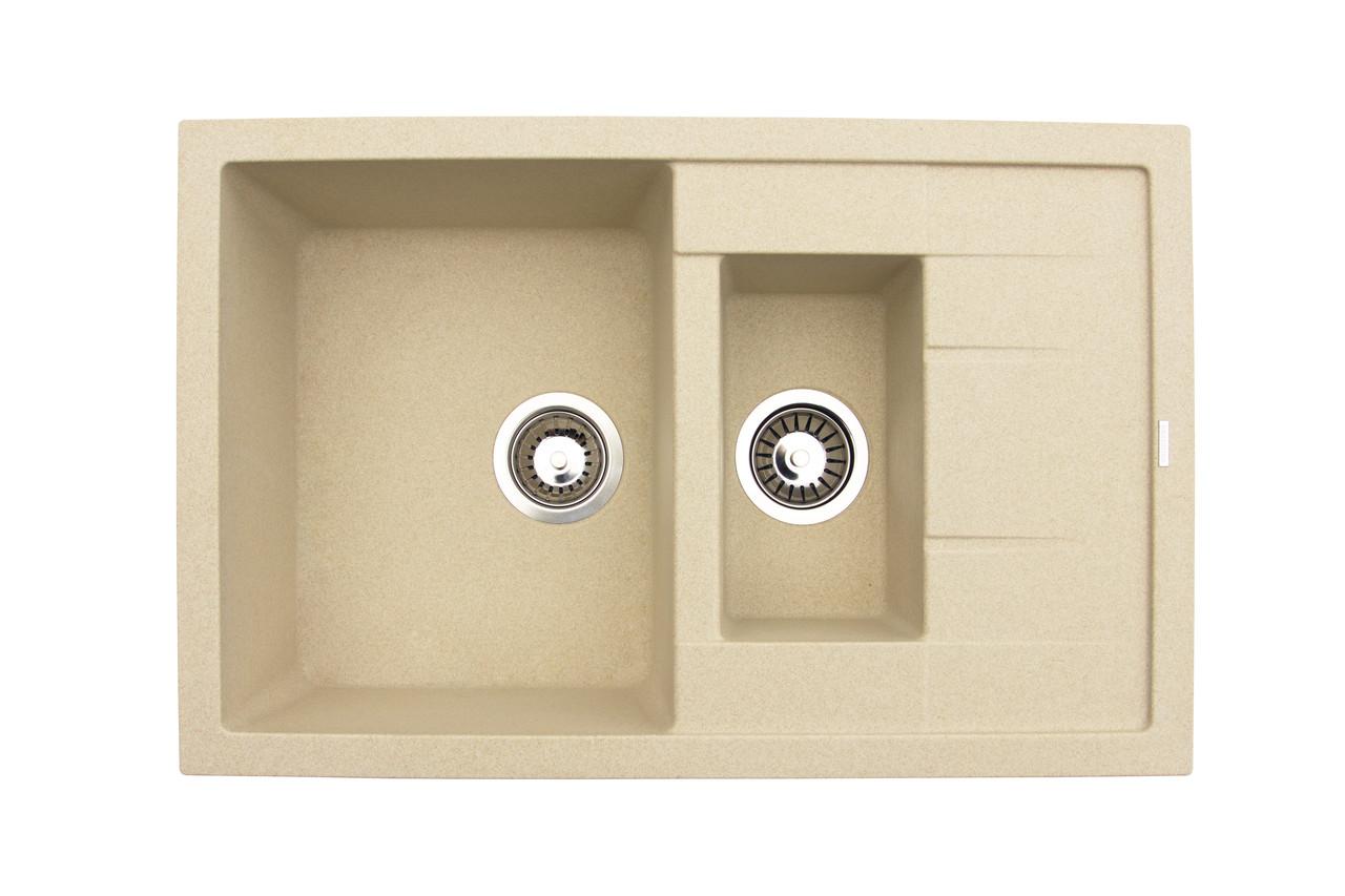 Прямоугольная кухонная мойка с двумя чашами Granitika Double Mini DM775020 песок 77х50х20
