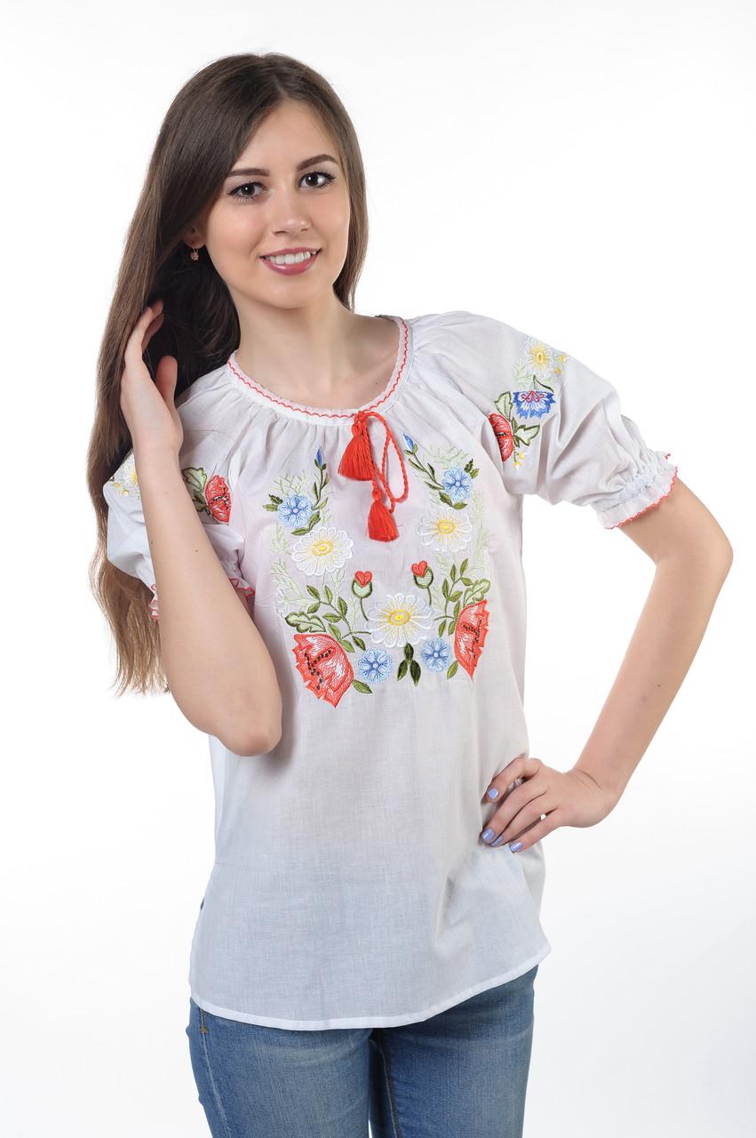"""Блуза вышитая (Вышиванка)  """"Полевые цветы"""" (БАТИСТ) (короткий рукав)"""