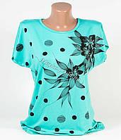 Женская футболка с принтом и стразами! Разные расцветки!