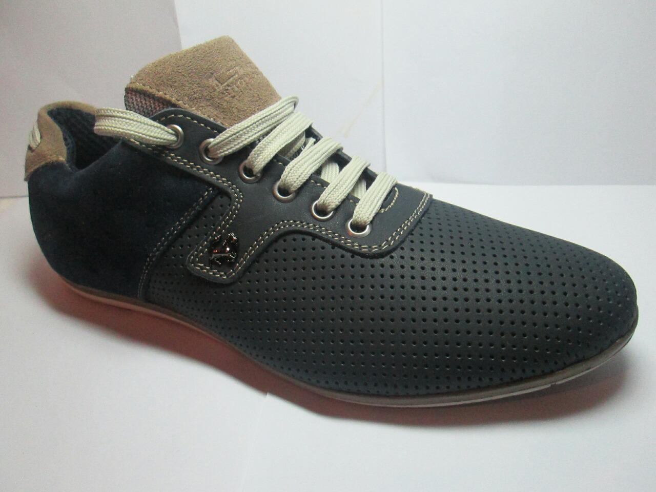 bab1cb4e145e Туфли мужские с перфорацией спортивного стиля GS-comfort, черные с бежевым  р 40-45