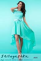 Вечернее платье Каскад шифоновый шлейф ментол