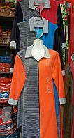 Стильный женский халат на молнии в полоску