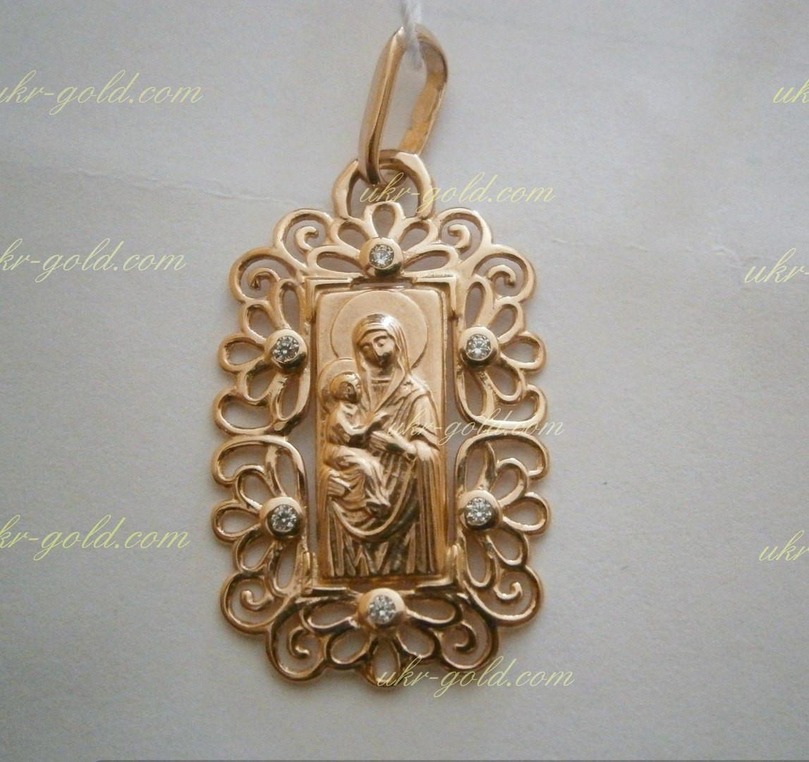 Золотая икона 585 пробы с фианитами