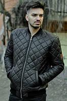 Бомбер мужской стеганый MonoCHRM черный (мужская весенняя ветровка, куртка)