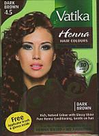 Краска Dabur VATIKA Naturals Тёмно Коричневая для волос на основе натуральной хны, Аюрведа Здесь