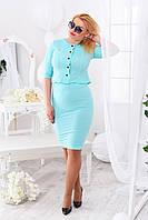 Женский деловой костюм с юбкой Мятный БАТАЛ