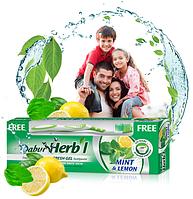 Зубная паста Дабур Мята и лимон 150 грм. фреш гель, Dabur Herb'l Mint&Lemon Fresh Gel, зубная щётка в подарок!